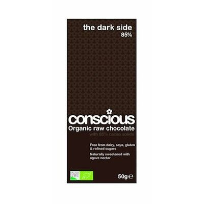 3 X Conscious Chocolate Block Chocolate The Dark Side 85% Organic Raw Vegan 50g