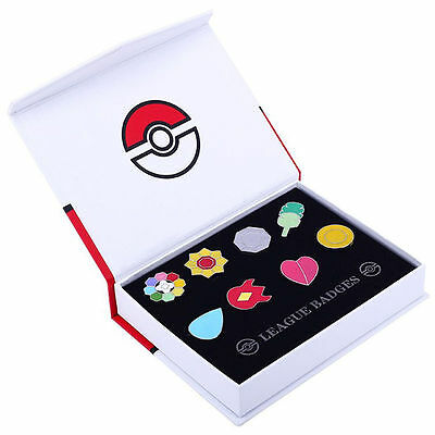 Pokemon Gen 1 Kanto League Gym Badge Pin Brooch Pip Cosplay Gift Collection Set