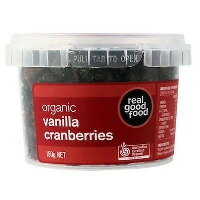 6 X Real Good Food Cranberry Dried Vanilla Organic (Tub) 150g