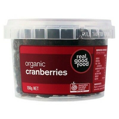 6 X Real Good Food Cranberry Dried Organic (Tub) 150g