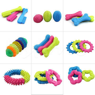Rubber Pet Dog Puppy Cat Dental Teething Healthy Gums Clean Chew Play Toys Cute