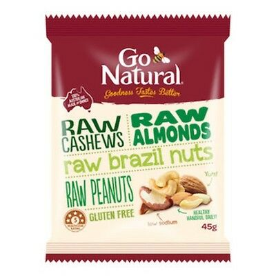 6 X Go Natural Nut Snack Pack Raw 45g x12