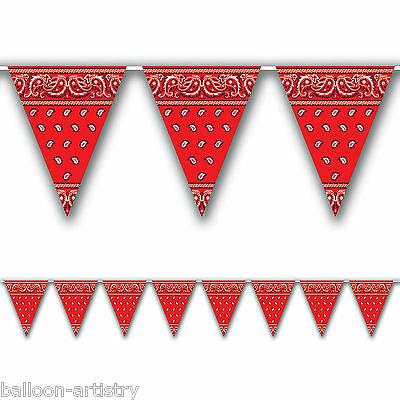 12ft Wild West Western RED Bandana Print Party Pennant Banner Bunting Decoration