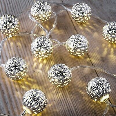 Auraglow Set of 12 Battery Operated 2.5m Indoor String LED Fairy Lights - Balls