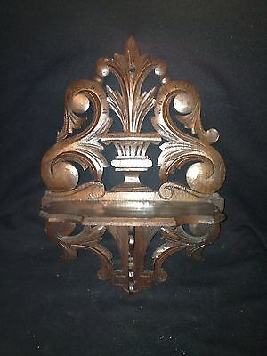"1930's 16 1/4"" Carved Wood Hanging Shelf Pediment"