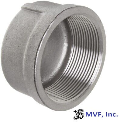 """Cap 150# 304 Stainless Steel 2"""" Npt Pipe Fitting          <843Wh"""