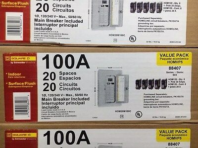 Square  D Home Line Value Pack Circut Breaker  Panel Brand New W/ Breakers