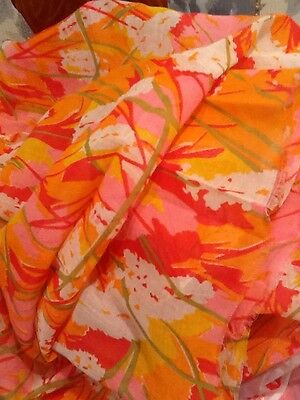 Vintage 1960s 1970s Floral Cotton Organdy Fabric 1 2/3 Yd Orange Pink Gold