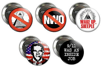 ANTI-ILLUMINATI BUTTONS nwo new world order conspiracy theory sheeple badges