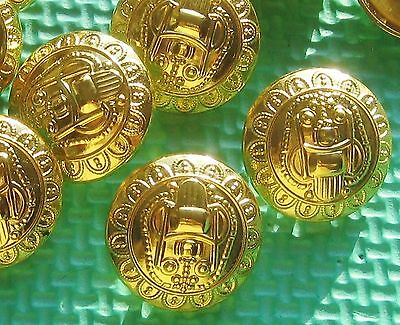 """ORNATE Military Style FLOWER BORDER Set 9 gold METAL buttons 1 & 1/8"""" Large"""
