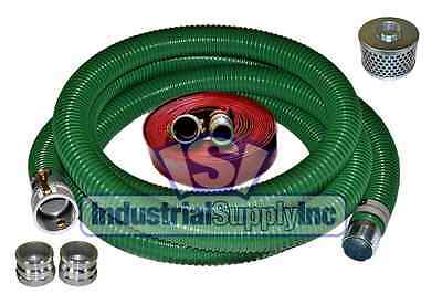 "3"" x 20 ft Heavy Duty Green SuperFlex Complete Hose Kit W/50' Red Discharge Hose"
