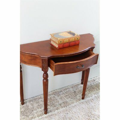 International Caravan Windsor Half Moon Table Demilune in Dual Walnut Stain