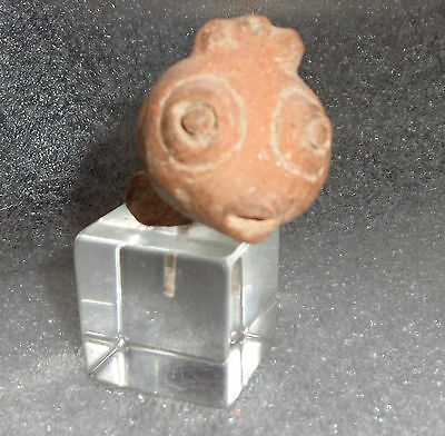 ancient south American pottery bird head fragment rattle