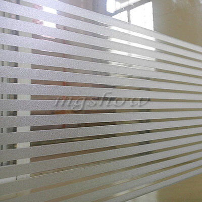 45x200cm Striped Frosted Privacy Glass Window Film Self Adhesive Home Decor PVC