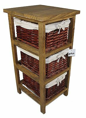 Layburn Wooden Storage Cabinet with 3 Wicker Woven Basket Drawers Furniture
