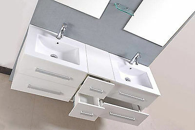 Wall Mounted Washbasin Vanity Unit White Gloss Ceramic Basins Drawers Mirrors
