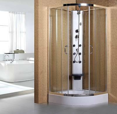 900mm Quadrant corner entry hydramassage pod shower cubicle enclosure jets tray