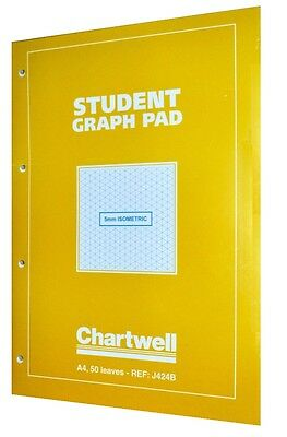 Chartwell A4 Yellow Student Graph Pad Notebook 50 Sheets (5mm Isometric) J424B