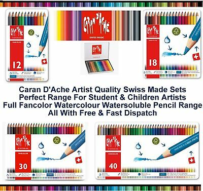 Caran Dache Fancolor Water Soluble Colour Pencils Artist Sketching Set Metal Tin
