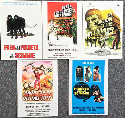 Lot Of 5 Italian Poster Postcards For Original Planet Of The Apes Film Series