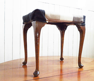 Antique Vintage Queen Anne style dressing table stool - footstool