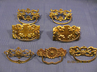 19Century Victorian Brass & Iron Drawer Pulls Lot of 7