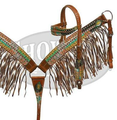 Showman LIMITED EDITION Metallic Painted Peacock Feather HS & B/C Set W/ FRINGE