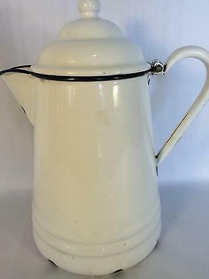 Vintage Porcelain Coffee Pot White with Lid Antique Kitchen Accessory