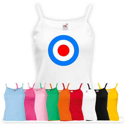 Ladies MOD 60's Music Subculture Vest - Printed Target Strapped Top Gift
