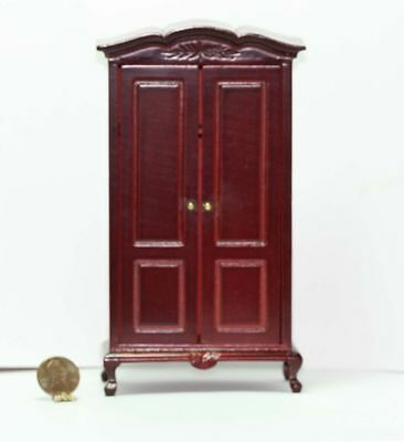 Dollhouse Miniature *SALE* Hand Carved Armoire in Mahogany Stained Wood
