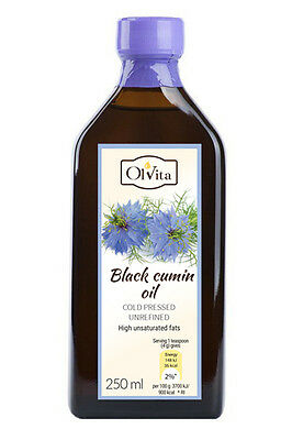 Raw Black Cumin Seed Oil 250ml. (Nigella sativa), cold pressed, Ol'Vita.