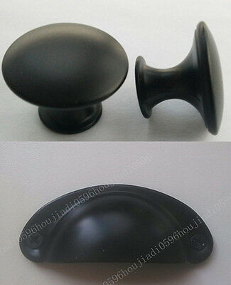 Black Knob Pull Handle Kitchen Cabinet Hardware free shipping
