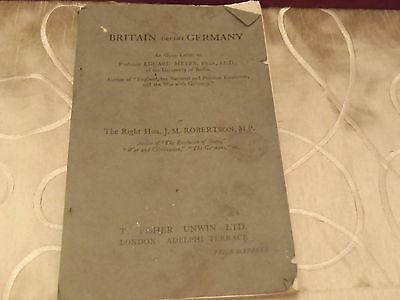Britain Versus Germany An Open Letter original 1917 WW1 edition