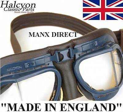 Brown Leather Halcyon Mark Mk 8 Battle Of Britain Flying Goggles Car Trike Bike