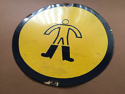 Vintage Tin Enamel Sign Porcelain Wear Safety Boots Footwear 1960's Big Size