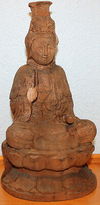 Antique Wood Chinese Kwan Yin Wooden Statue