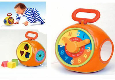 New Funtime Baby Toddler Pull Along Multi Activity Toy Shape Sorter Clock Mirror