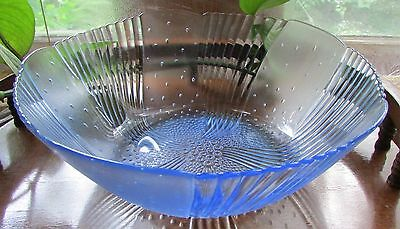 Beautiful Vintage Light Blue Frosted/Scalloped Glass Serving Bowl Art Deco