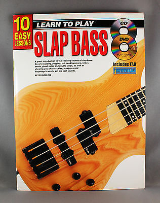 10 Easy Lessons Learn To Play Slap Bass - Book, CD & DVD - Brand New