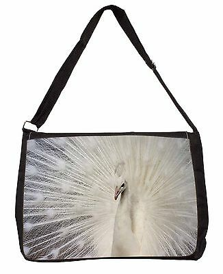 White Feathers Peacock Large Black Laptop Shoulder Bag Christmas Gift, AB-PE19SB