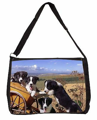 Border Collie Large Black Laptop Shoulder Bag School/College, AD-BC19SB