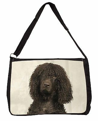 Irish Water Spaniel Dog Large Black Laptop Shoulder Bag Christmas Gift, AD-IWSSB