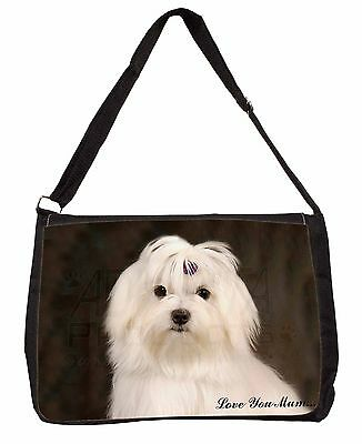 Maltese Dog 'Love You Mum' Large Black Laptop Shoulder Bag Christmas, AD-M1lymSB