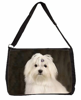 Maltese Dog Large Black Laptop Shoulder Bag Christmas Gift Idea, AD-M1SB