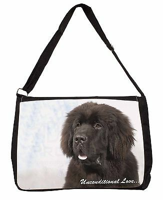 Newfoundland Dog-With Love Large Black Laptop Shoulder Bag School/Col, AD-NF1uSB