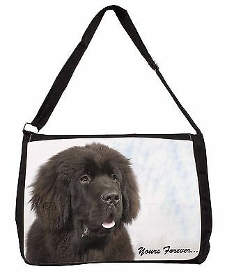 Newfoundland Dog 'Yours Forever Large Black Laptop Shoulder Bag School, AD-NF3SB