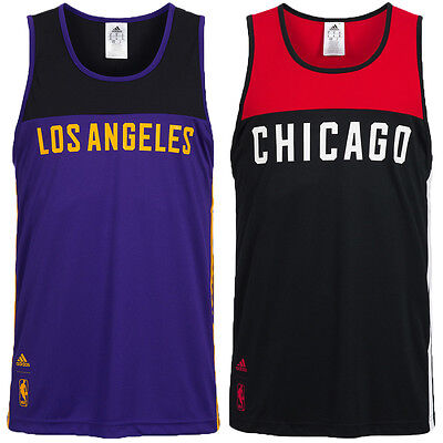 adidas NBA Basketball Tank Tops Fan Shirt Fanwear LA Lakers Chicago Bulls neu