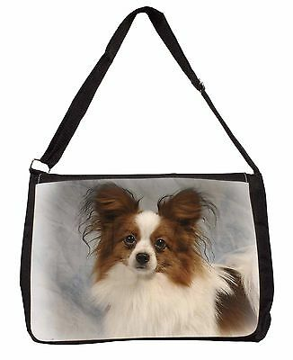 Papillon Dog Large Black Laptop Shoulder Bag School/College, AD-PA1SB