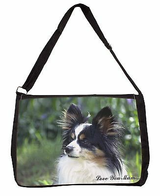 Papillon Dog 'Love You Mum' Large Black Laptop Shoulder Bag School, AD-PA62lymSB