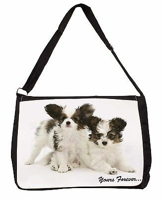 Papillon Dogs 'Yours Forever' Large Black Laptop Shoulder Bag Christm, AD-PA66SB